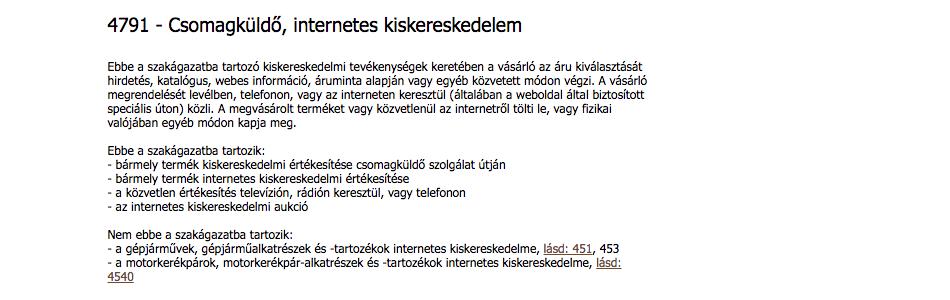 4791 - Csomagküldő, internetes kiskereskedelem