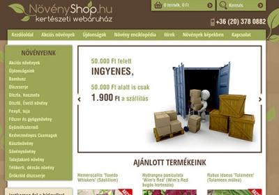 www.novenyshop.hu webáruház készítése