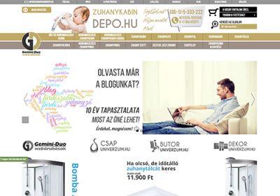 Zuhanykabindepo.hu webáruház készítése